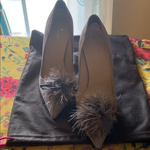 Smoked grey suede heels